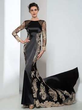 Classy Long Sleeves Appliques Lace Up Mermaid Evening Dress