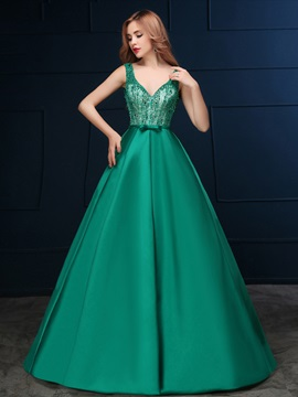 Elegant V Neck Beading Bowknot Lace Up Long Prom Dress