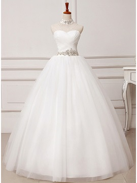 Floor Length A Line Ruched Bodice Beaded Waist Sweetheart Wedding Dress