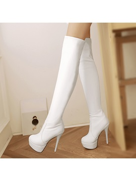 Pu Stiletto Heel Platform Thigh High Boots