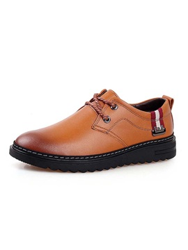 Pu Round Toe Lace Up Front Mens Casual Shoes