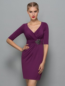 Elegant V Neck Half Sleeve Beading Sheath Formal Dress