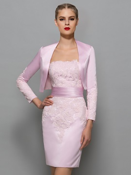 Glamorous Strapless Appliques Sheath Office Dress With Jacket Shawl