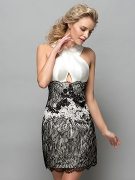 Sexy Halter Hollow Lace Short Column Cocktail Dress