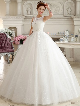 Sheer Jewel Neck Ivory Ball Gown Princess Wedding Dress