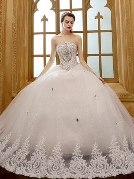 Strapless Rhinestone Beaded Lace Trimmed Hemline Ball Gown Wedding Dress