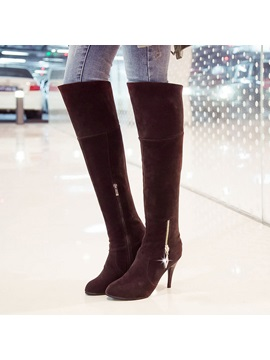Suede Pointed Toe Zippered Knee High Boots