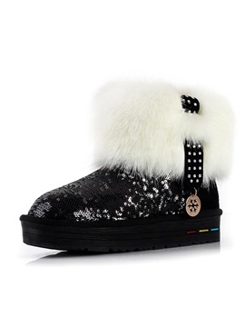 Faux Fur Sequins Winter Boots