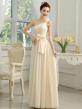 Charming Lace Top Champagne Chiffon Long Bridesmaid Dress