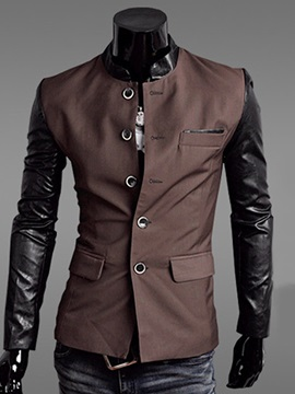 Patchwork Single Buttons Pu Sleeves Mens Coat