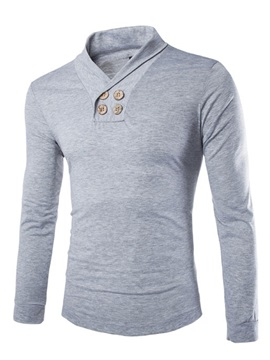 Solid Color V Neck Buttons Decorated Mens Long Sleeve Tee