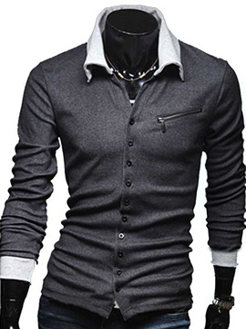 Lapel Chest Zip Decorated Single Breasted Mens Cardigan Knitwear