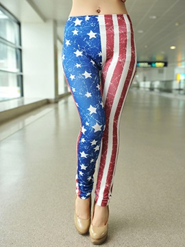 Vogue Stripe Five Pointed Star Printed Leggings