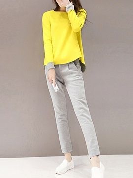 Casual Color Block Top Pleated Harem Pant