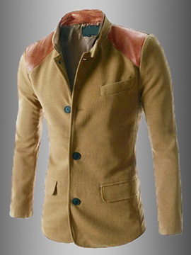 Patchwork Stand Collar Long Sleeve Mens Coat