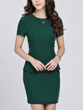 Pure Color Short Sleeve Top Sheath Skirt