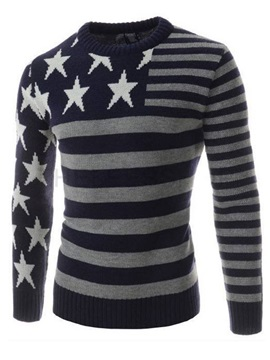 Slim Fit Star Printed Jacquard Stripe Mens Pullover Sweater