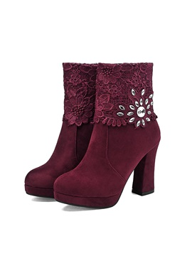 Rhinestone Lace Patchwork Chunky Heel Ankle Boots