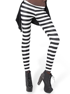Simple Stripe Printing Polyester Leggings