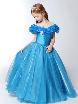 Floor Length Ball Gown Off The Shoulder Cinderella Girls Party Dress