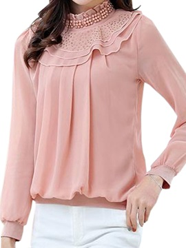 Chic Bead And Sequins Decoration Collar Blouse