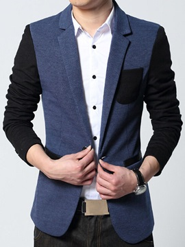 Patched Chest Pocket One Button Mens Casual Blazer