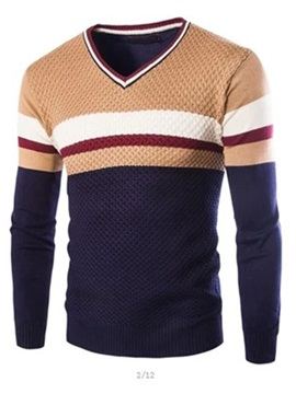 V Neck Color Block Stripe Decorated Mens Pullover Sweater