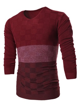 V Neck Plaid Slim Fit Mens Pullover Sweater