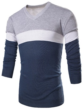 Color Block Wide Stripe Decorated Mens Pullover Sweater