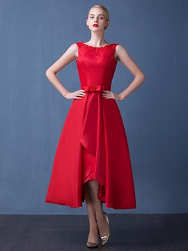 Fancy Straps A Line Beading Bowknot Red Tea Length Prom Dress