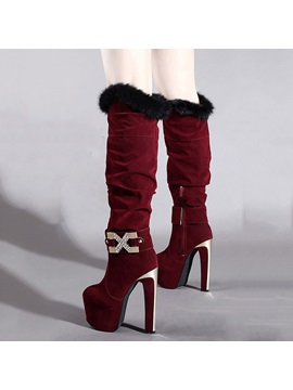 Purfle Suede Ultra High Heel Knee High Boots
