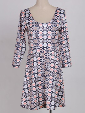 Vintage 3 4 Sleeve Print Day Dress