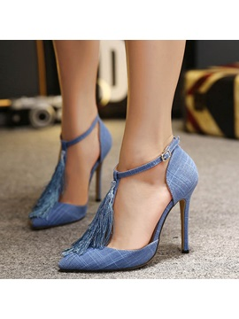 Tassels Ankle Strap Stiletto Heel Pumps
