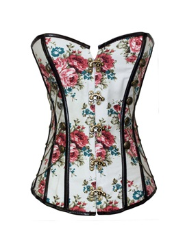Floral Pattern Lace Up Front Side Buckle Corset