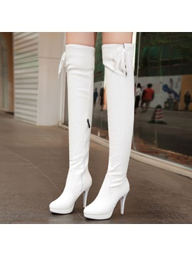 Solid Color Pu Ed Thigh High Boots