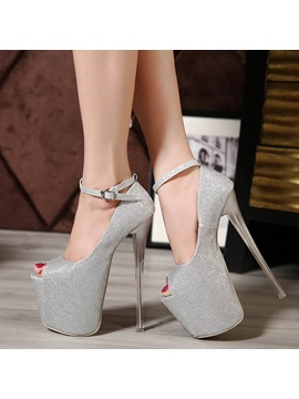 Sequins Peep Toe Stiletto Heel Prom Shoes