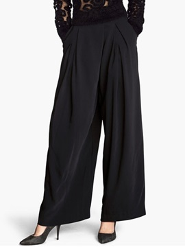 Elegant Pleated Wide Leg Womens Pant