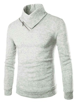 Solid Color Zip Up Stand Collar Mens Pullover Sweater