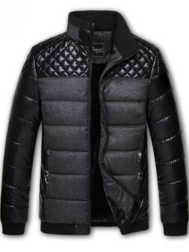 Chest Patchwork Stand Collar Mens Down Coat