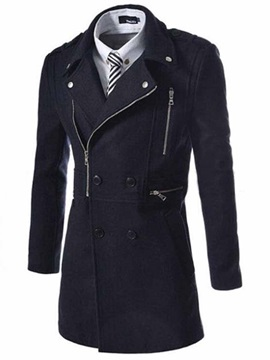 Middle Pattern Solid Color Zip Decorated Mens Wool Coat
