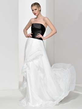 Simple Strapless A Line Ruffles Long Evening Dress
