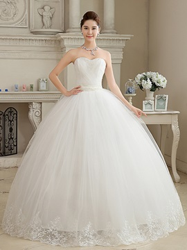 Cheap Sequin Beaded Sweetheart Ball Gown Wedding Dress