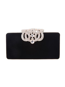 Solid Magnetic Snap Women Clutch Evening Bag