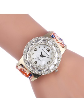 Stylish Rhinestone Decorated Quartz Womens Lace Up Watch