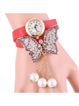 Shining Butterfly Decorated With Bead Tassels Womens Watch