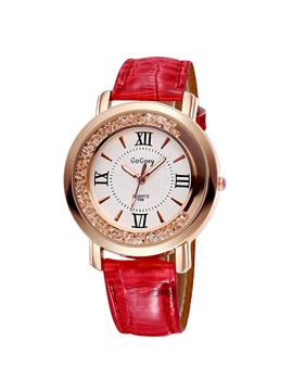 Round Dial Roman Numerals Decorated Womens Belt Watch