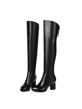 Black Pu Chunky Heel Back Zip Over Knee Boots