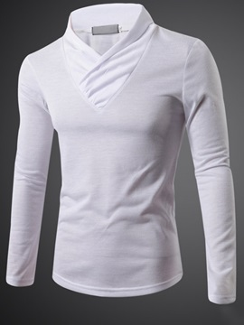 Collar Folds Solid Color Mens Long Sleeve Tee