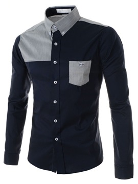 Lapel Shoulder Patchwork Single Breasted Mens Shirt