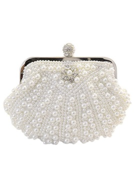 Elegant Magnetic Snap Pearls Women Clutche Evening Bag